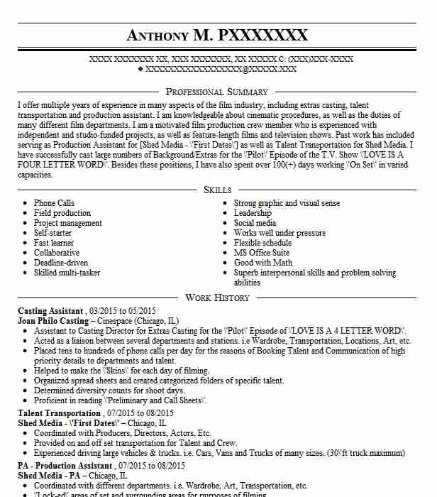 casting assistant resume sample