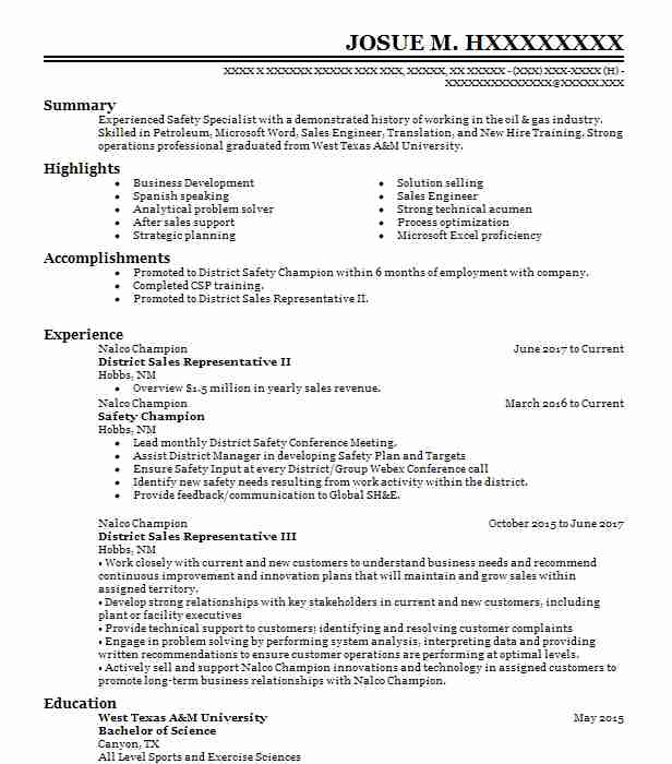 Outside Sales Representative Resume Example (Forbo Movement