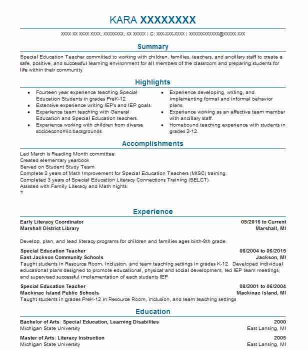 Adult Education And Literacy Coordinator Resume Example The ...
