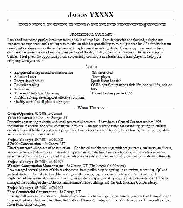 97 Construction Management Resume Examples | Management Resumes ...