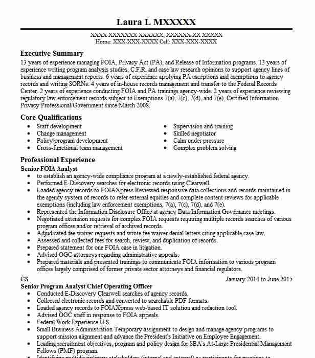 foia assistant resume example department of homeland