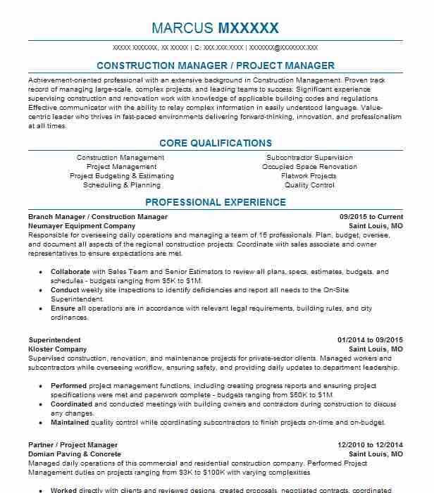 branch manager construction manager resume example neumayer