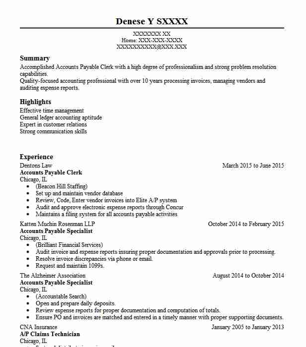 Accounts Payable Clerk Resume Objectives Sample