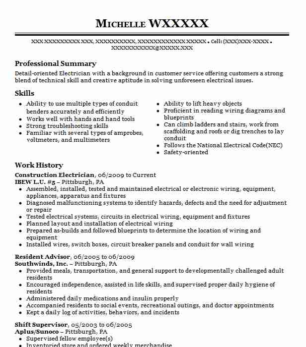 construction electrician resume sample