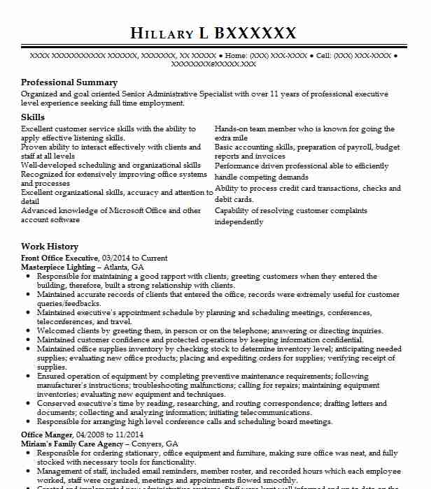front office executive resume sample