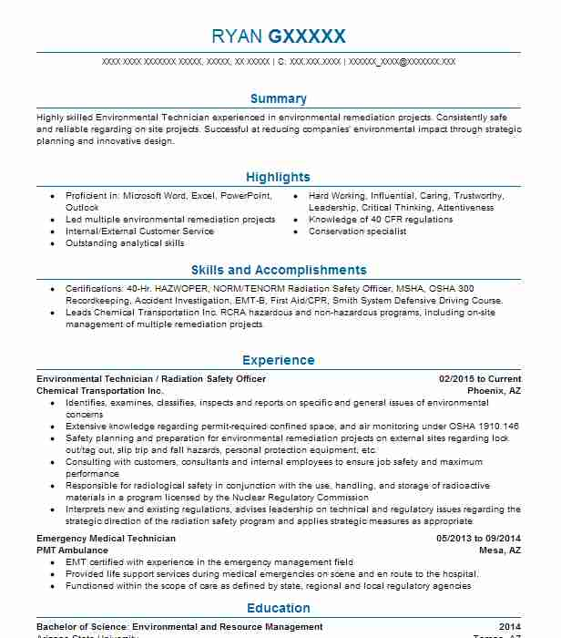 Hazardous Materials Technician Resume Sample | LiveCareer