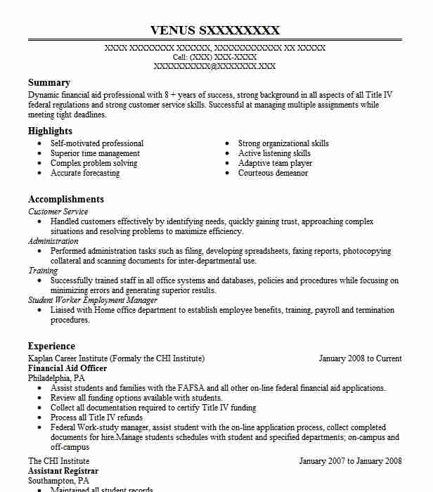 financial aid officer resume sample
