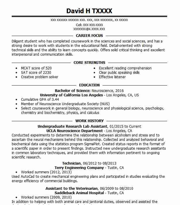 undergraduate research lab assistant - Animal Science Resume Templates