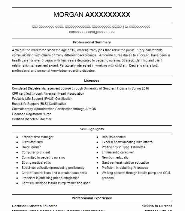 Certified Diabetes Educator Resume Example Mountain States ...