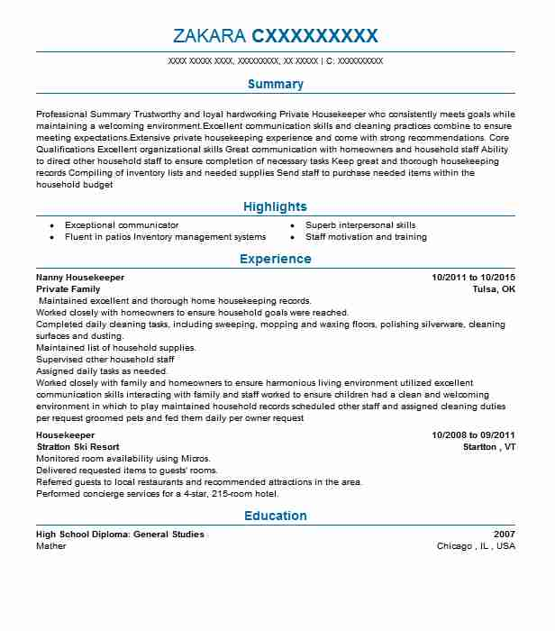 Nanny Housekeeper Resume Example Housekeeper Resumes Livecareer
