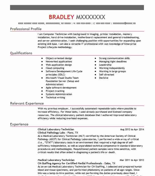 13 Clinical Experience On Resume: Clinical Laboratory Technician Resume Sample