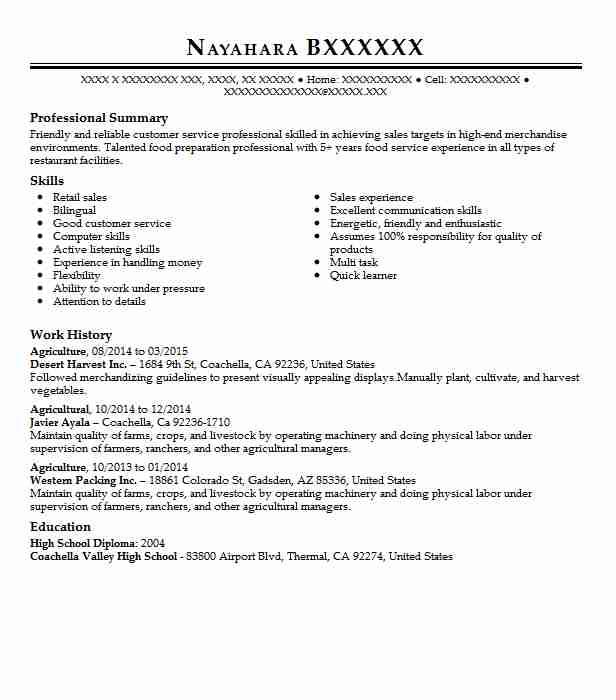 agriculture resume sample