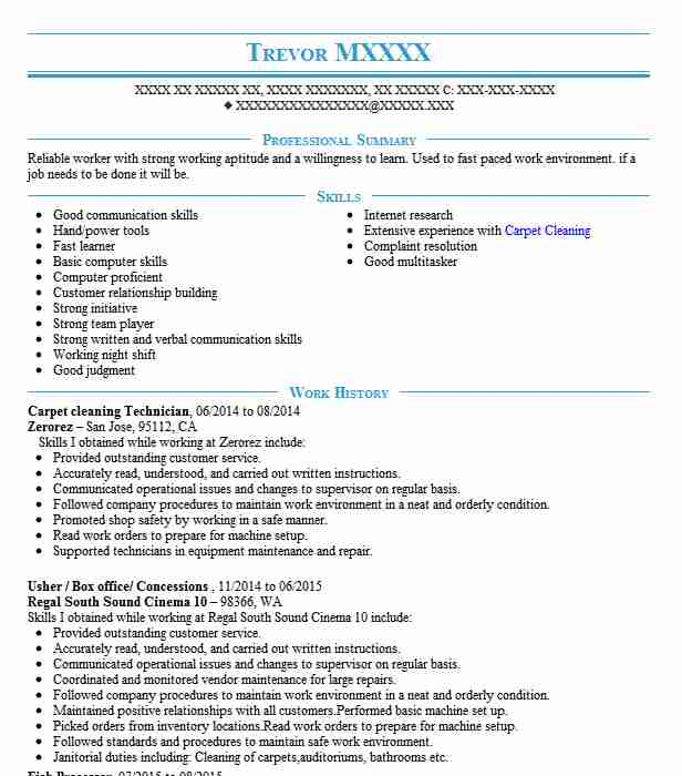 Carpet Cleaning Technician Resume Sample Livecareer