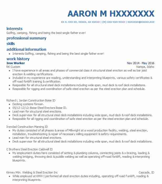 Iron Worker Resume Sample | Worker Resumes | LiveCareer