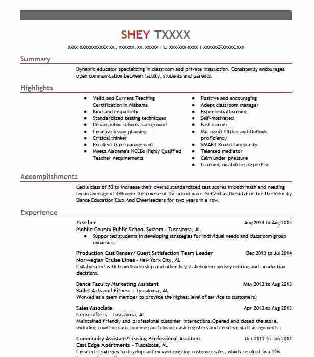 807 secondary school resume examples in alabama | livecareer