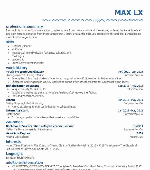 youth program coordinator resume sample
