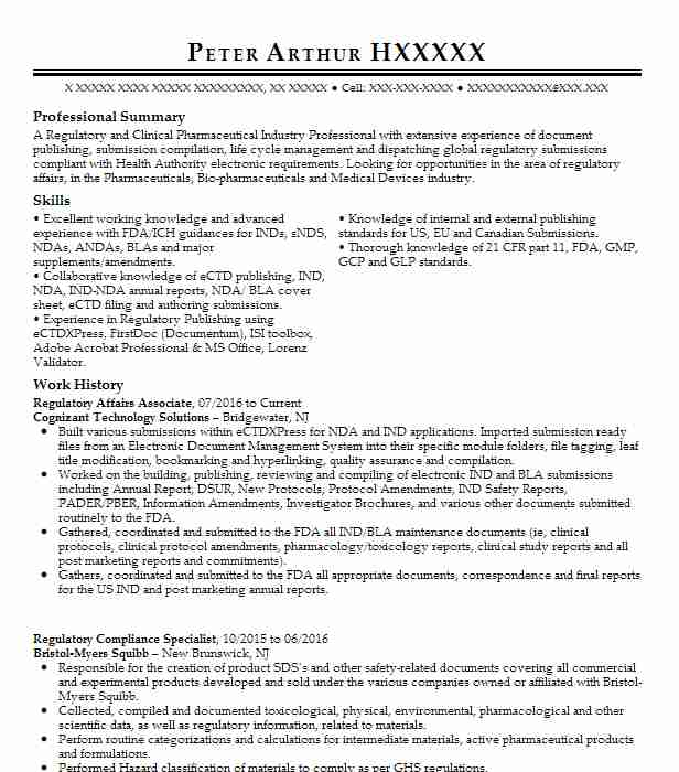 Director, Regulatory Affairs And Compliance Resume Example