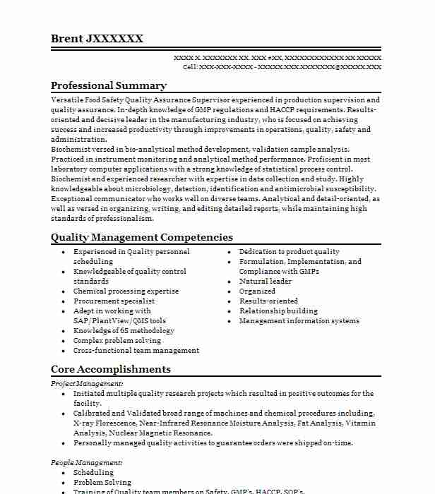 Food Quality Assurance Technician Resume Example Taylor Farms