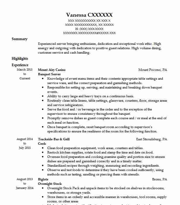 Banquet Server Resume Example Resumes Misc Livecareer