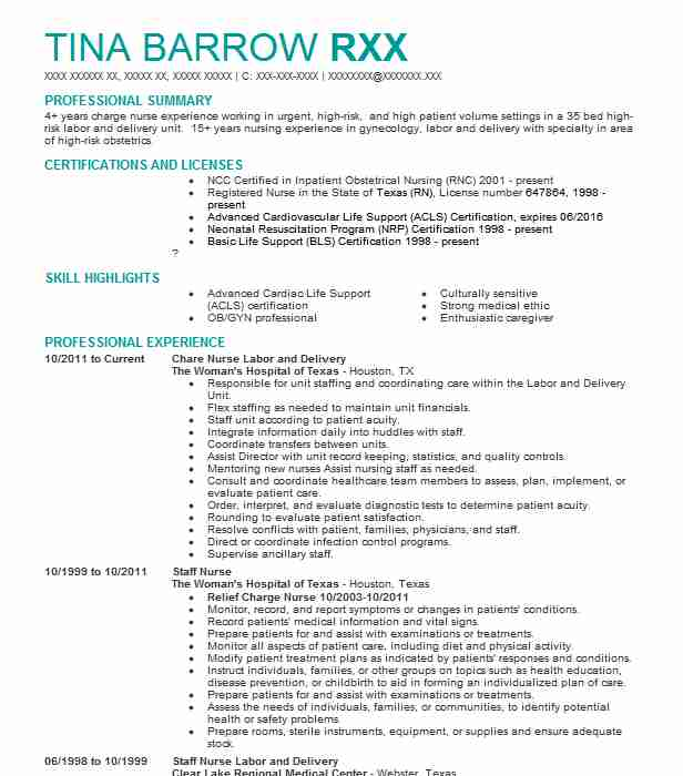 sample labor and delivery nurse resume