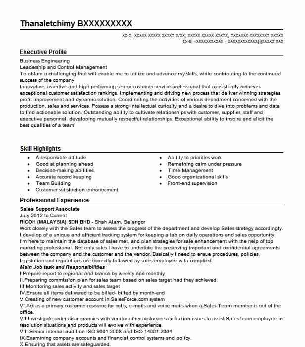 sales support associate resume example victoria u0026 39 s secret