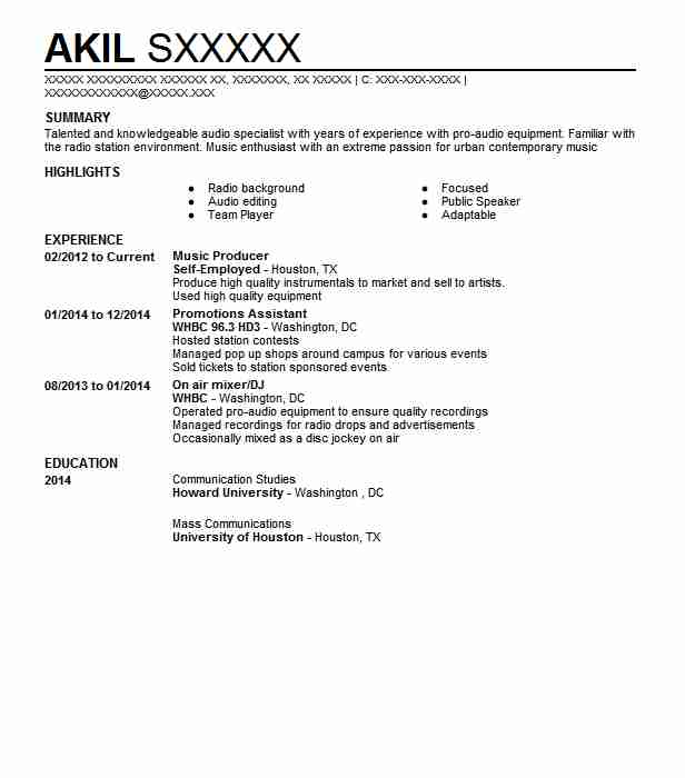 Music Producer Resume Sample Art Resumes Livecareer