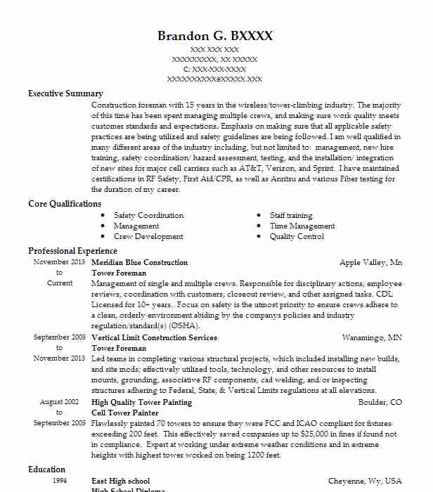 tower technician foreman resume example high tide