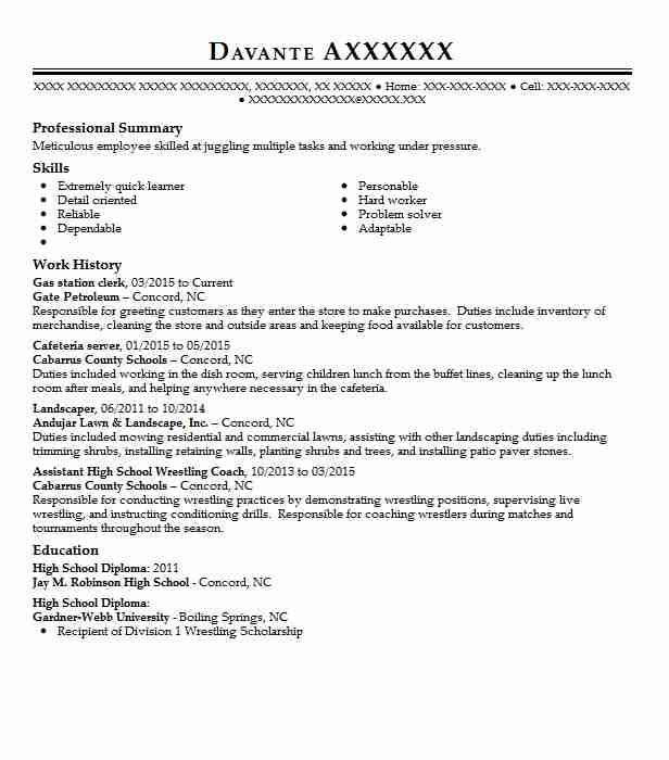 gas station clerk resume sample