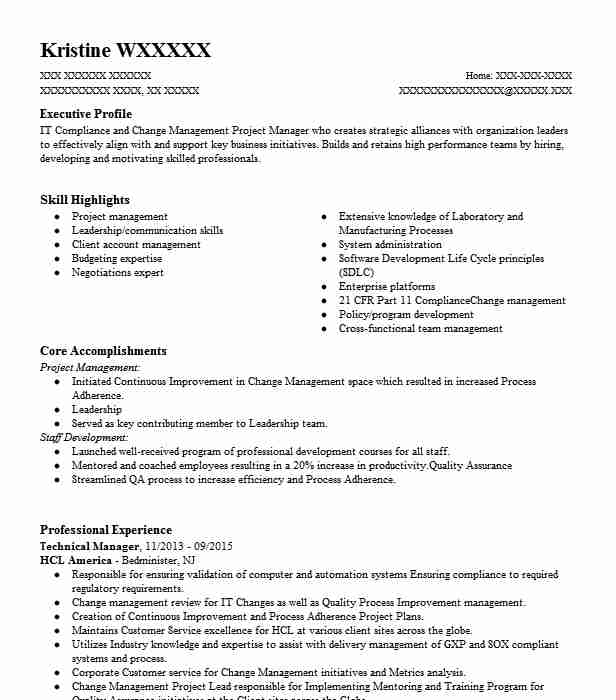Technical Manager Resume Sample
