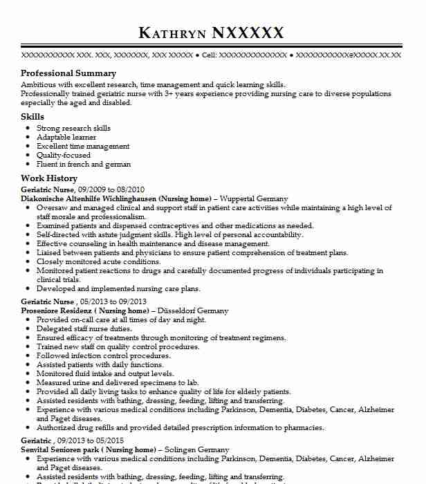 Geriatric Nurse Resume Sample Nursing Resumes Livecareer