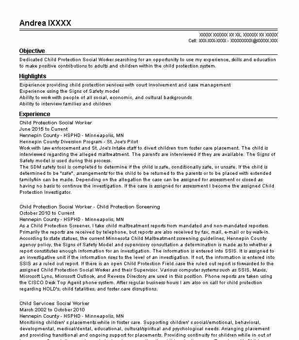 Sample Cover Letter Objective Statement: Child Protection Social Worker Resume Sample