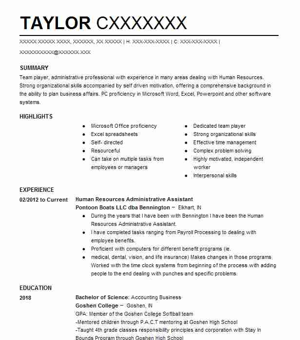 human resources administrative assistant resume sample