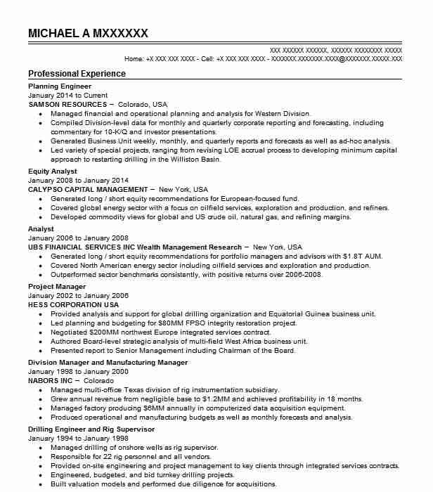 Planning Engineer Resume Sample Technical Resumes LiveCareer