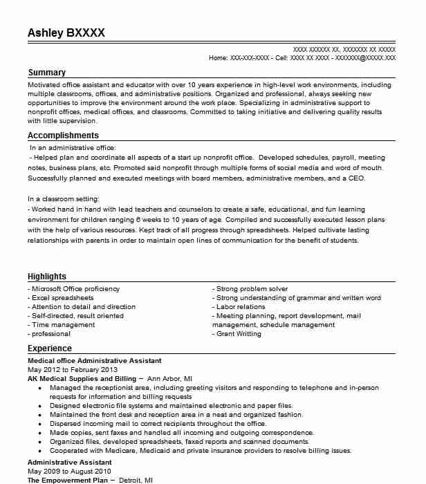 Medical Office Administrative Assistant Objectives Resume