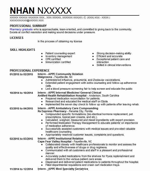 Pharmacy Student APPE Rotation Resume Example Highmark