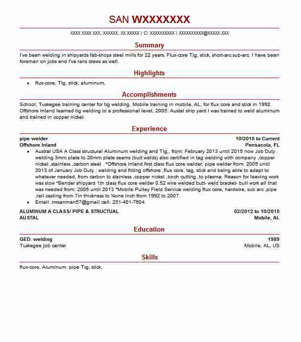 Pipe Welder Resume Sample Resumes Livecareer