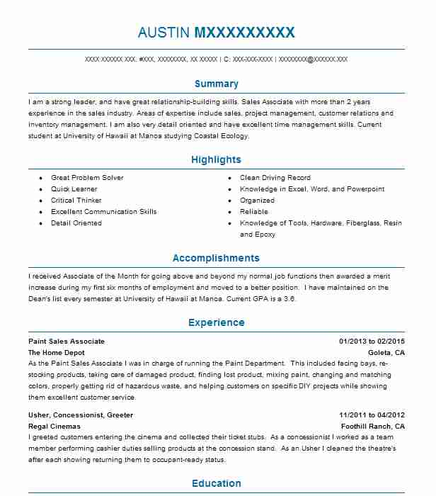 Paint Sales Associate Resume Example The Home Depot