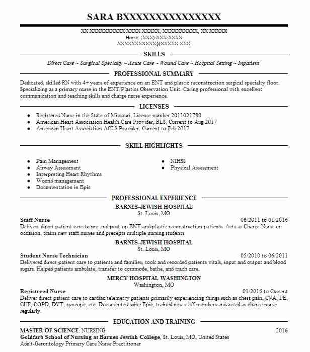 Medical Surgical Nurse Resume Sample: Best Registered Nurse Resume Example
