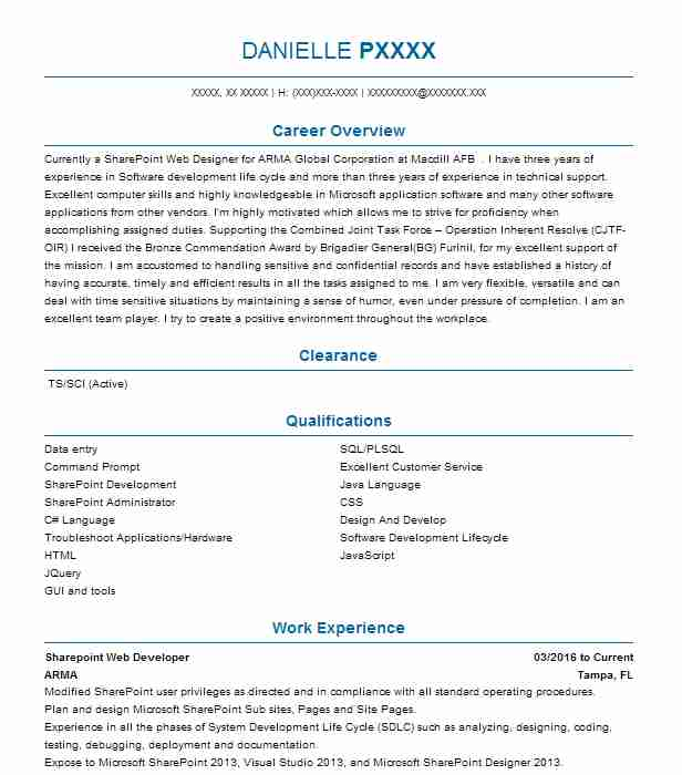 Sharepoint Web Developer Resume Example ARMA - Tampa, Florida