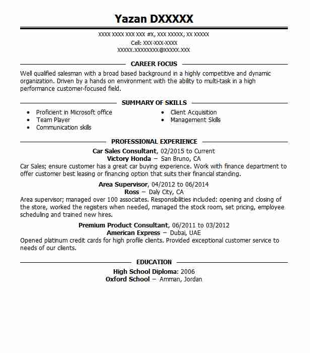 car sales consultant resume sample