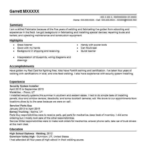 Security System Installer Resume Sample | LiveCareer