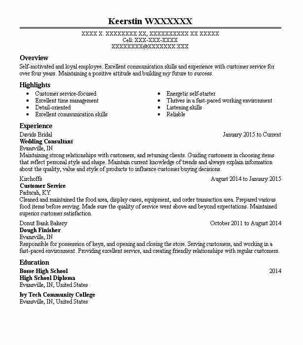 wedding consultant resume sample