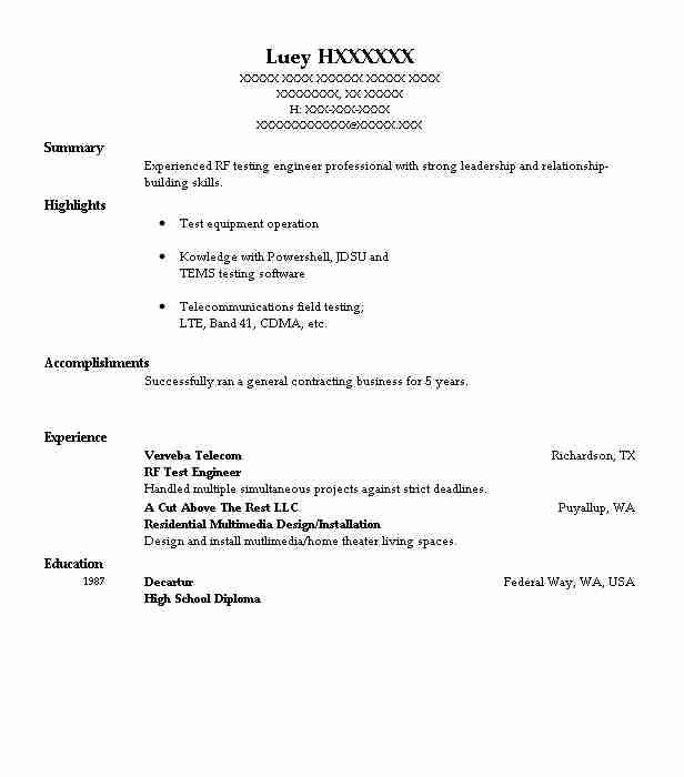 Wireless Engineer Sample Resume: Rf Test Engineer Resume Sample