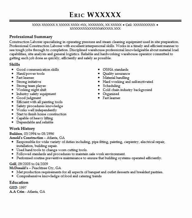 Builders Resume Sample