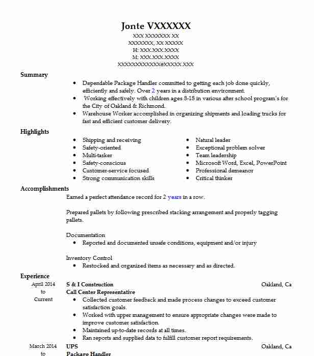 Mail Carrier Rural Carrier Associate Resume Example United States