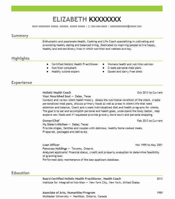 certified holistic health coach resume example self