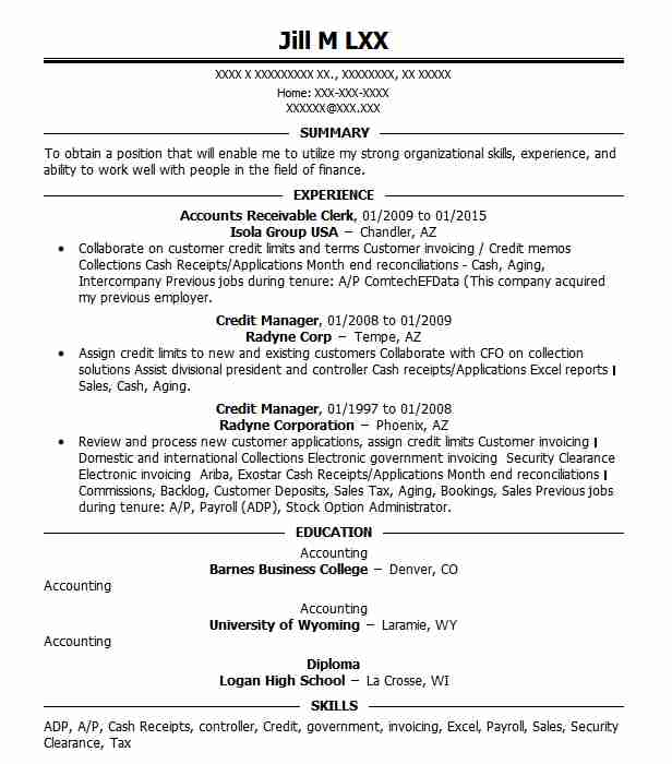 Sample Resume For Accounts Receivable Clerk Name