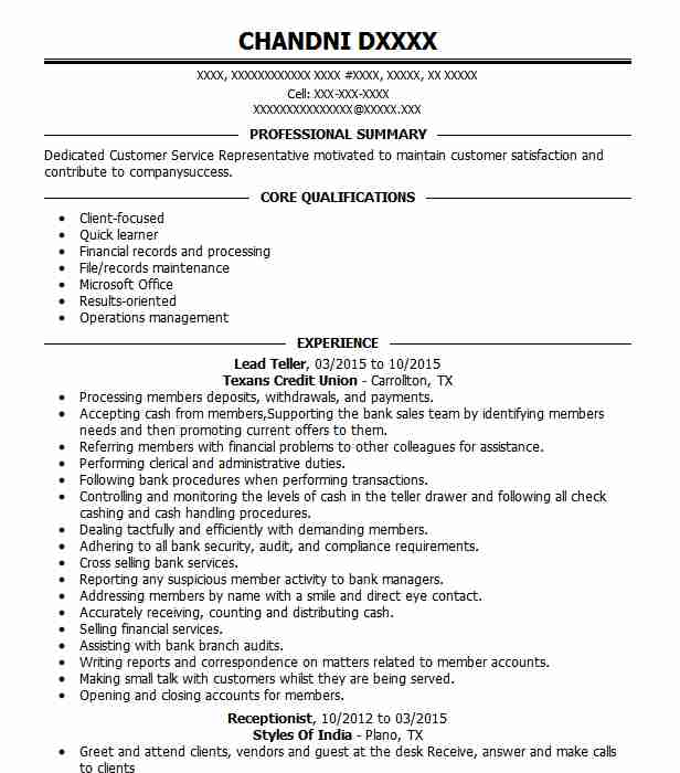 Lead Teller Resume Sample Teller Resumes Livecareer