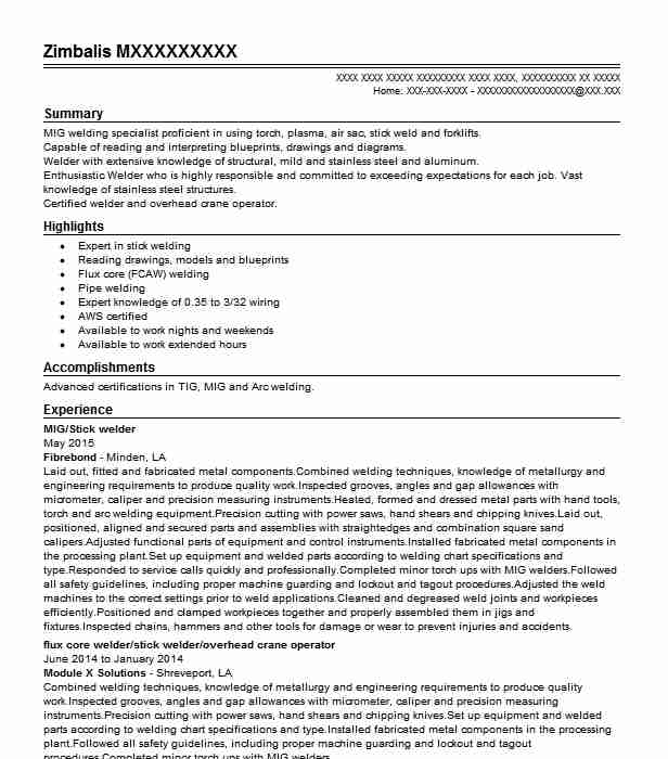 flux core welder resume example supermetal