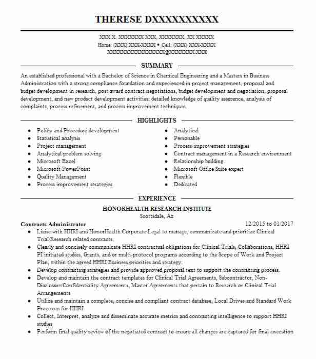 Post Resume Free: Contracts Administrator Resume Sample
